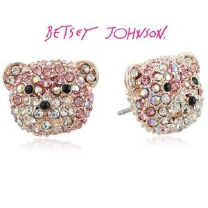 Betsey Johnson Pave Bear Stud Earrings Kids, woman